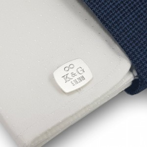 Groom cufflinks | With initials and wedding date | Sterling silver | ZD.230