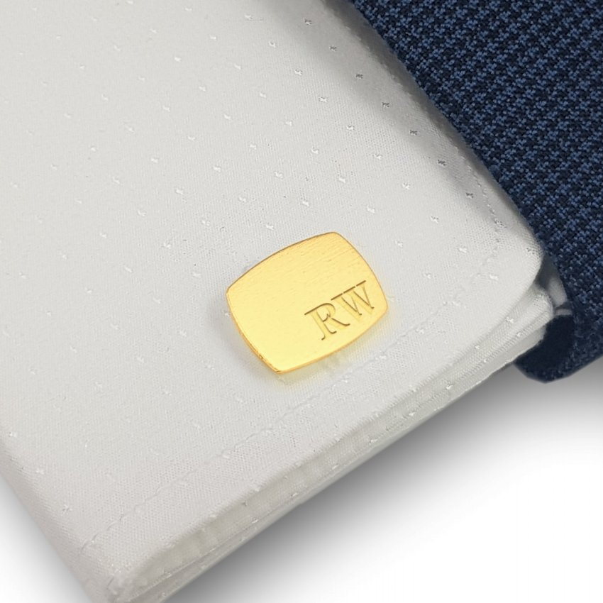 Custom Gold Cufflinks   Available in 10 fonts   Sterling silver gold plated   ZD.221Gold