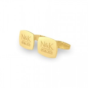 Custom Gold Cufflinks | With initials and wedding date | Sterling silver gold plated | ZD.225Gold