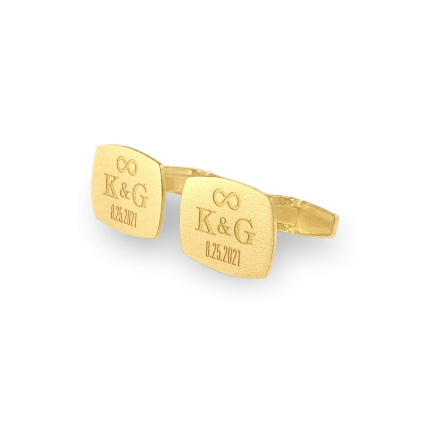 Gold Groom cufflinks | With initials and wedding date | Sterling silver gold plated | ZD.230Gold