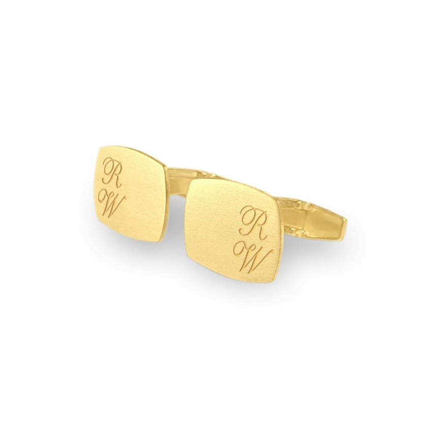 Custom Gold Cufflinks   Available in 10 fonts   Sterling silver gold plated   ZD.220Gold