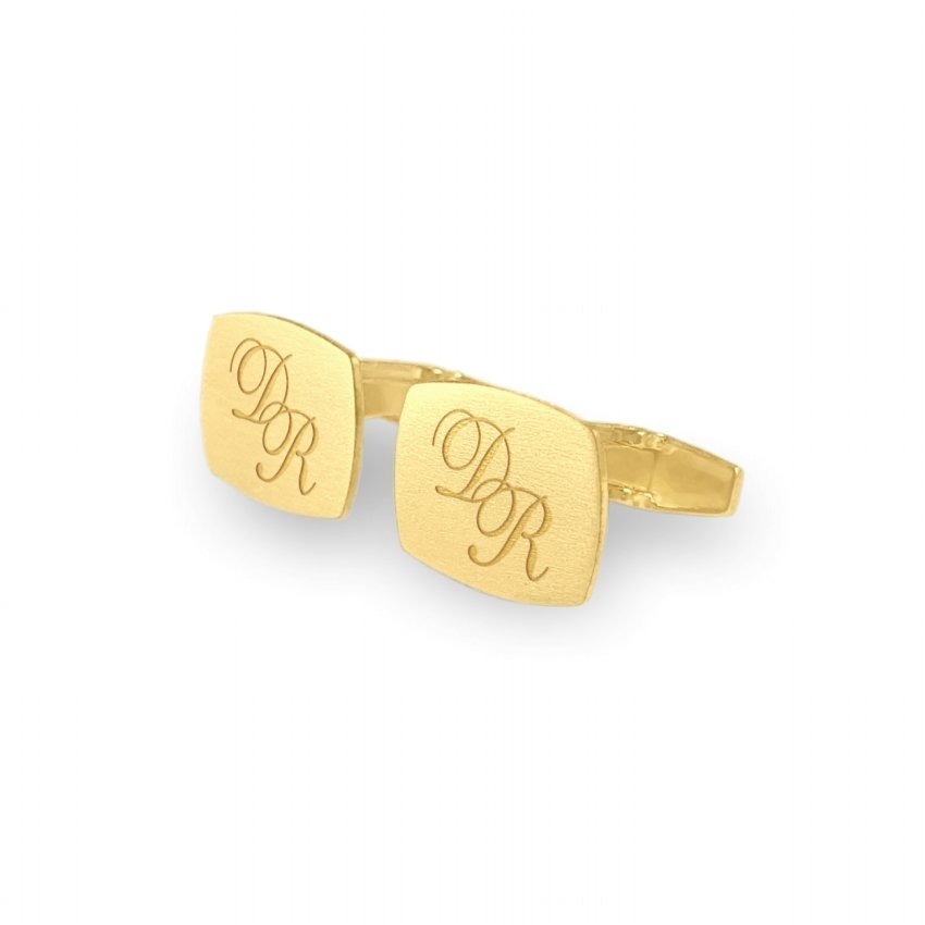 Custom Gold Cufflinks   Available in 10 fonts   Sterling silver gold plated   ZD.222Gold