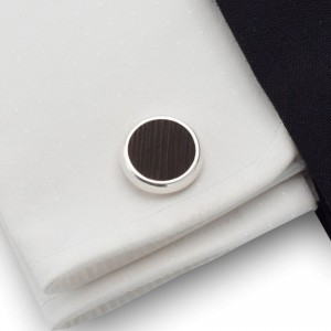 Round Wooden Cufflinks |  Sterling sillver | Wenge wood | ZD.19