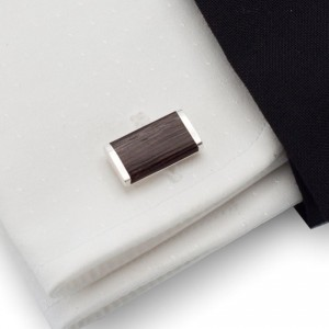 Rectangular Wood Cufflinks |  Sterling silver | Wenge wood | ZD.12