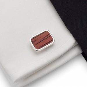 Redwood cufflinks |  Sterling sillver | Mahogany wood | ZD.18