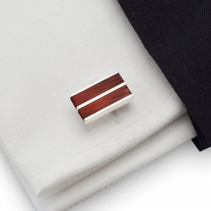 Redwood cufflinks |  Sterling sillver | Mahogany wood | ZD.16
