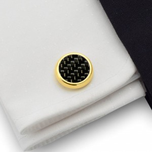 Carbon Gold Cufflinks | Sterling silver gold plated  | Carbon Fibre | ZD.43Gold