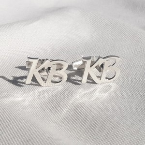 Sterling silver Initial Letter Cufflinks | Two Initial | Sterling silver | Available in 6 fonts | ZD.301
