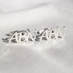 Monogram Letter Cufflinks | Three Initials | Sterling silver | Available in 6 fonts | ZD.303