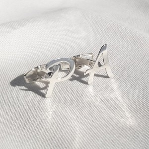 Sterling silver Initial Letter Cufflinks | One initial | Sterling silver | Available in 6 fonts | ZD.300