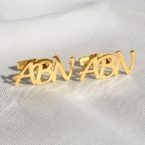 Monogram Letter Cufflinks | Three Initials | 925 silver 18K gold plated | Available in 6 fonts | ZD.303G