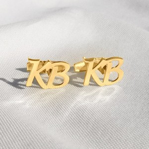 Gold Initial Letter Cufflinks | Two Initial | Sterling silver gold plated | Available in 6 fonts | ZD.301G