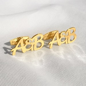 Letter Cufflinks With the initials beloved Woman and Man | 925 silver 18K gold plated | Available in 6 fonts | ZD.304G