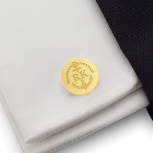 Anchor gold cufflinks | With Your initials and date | Sterling sillver gold plated | ZD.165Gold