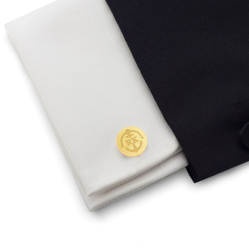 Anchor gold cufflinks | With Your initials and date | Sterling silver gold plated | ZD.165Gold