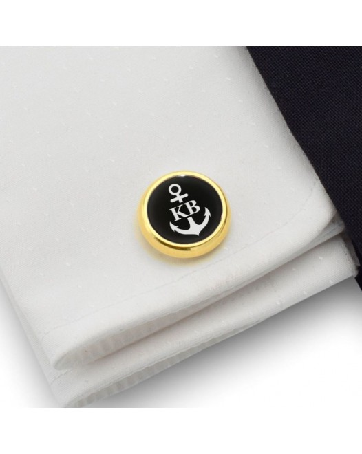 Anchor gold cufflinks | With Your initials and date | Sterling silver gold plated | Onyx stone | ZD.160Gold