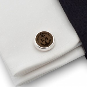 Personalized Anchor cufflinks | With Your initials and date | Sterling sillver | American Walnut | ZD.161