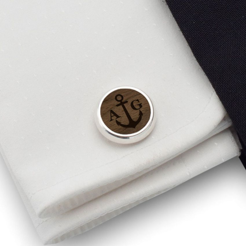 Personalized Anchor cufflinks | With Your initials and date | Sterling silver | American Walnut | ZD.161