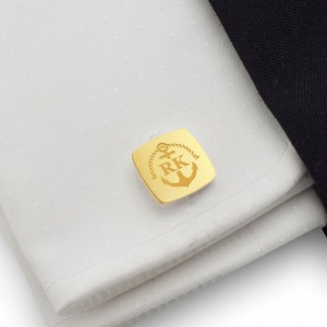 Anchor gold cufflinks | With Your initials and date | Sterling sillver gold plated | ZD.164Gold
