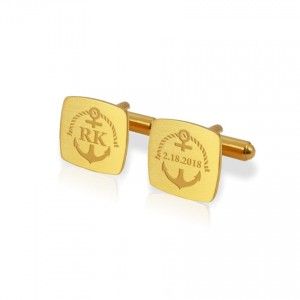 Anchor gold cufflinks   With Your initials and date   Sterling silver gold plated   ZD.164Gold