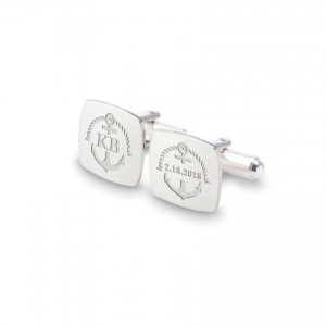 Personalized Anchor cufflinks   With Your initials and date   Sterling silver   ZD.164