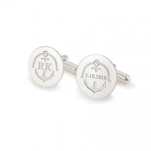 Personalized Anchor cufflinks   With Your initials and date   Sterling silver   ZD.165