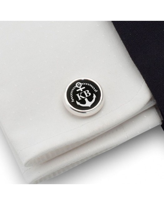 Personalized Anchor cufflinks | With Your initials and date | Sterling sillver | Onyx stone | ZD.160