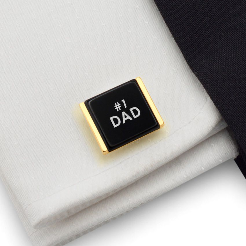 Custom Gold Cufflinks   Gift Ideas for Dad   Sterling silver   Onyx stone   ZD.81Gold