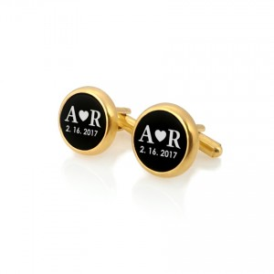 Personalized Gold Cufflinks   Love Gifts for Men   Sterling silver gold plated   Onyx stone   ZD.112Gold