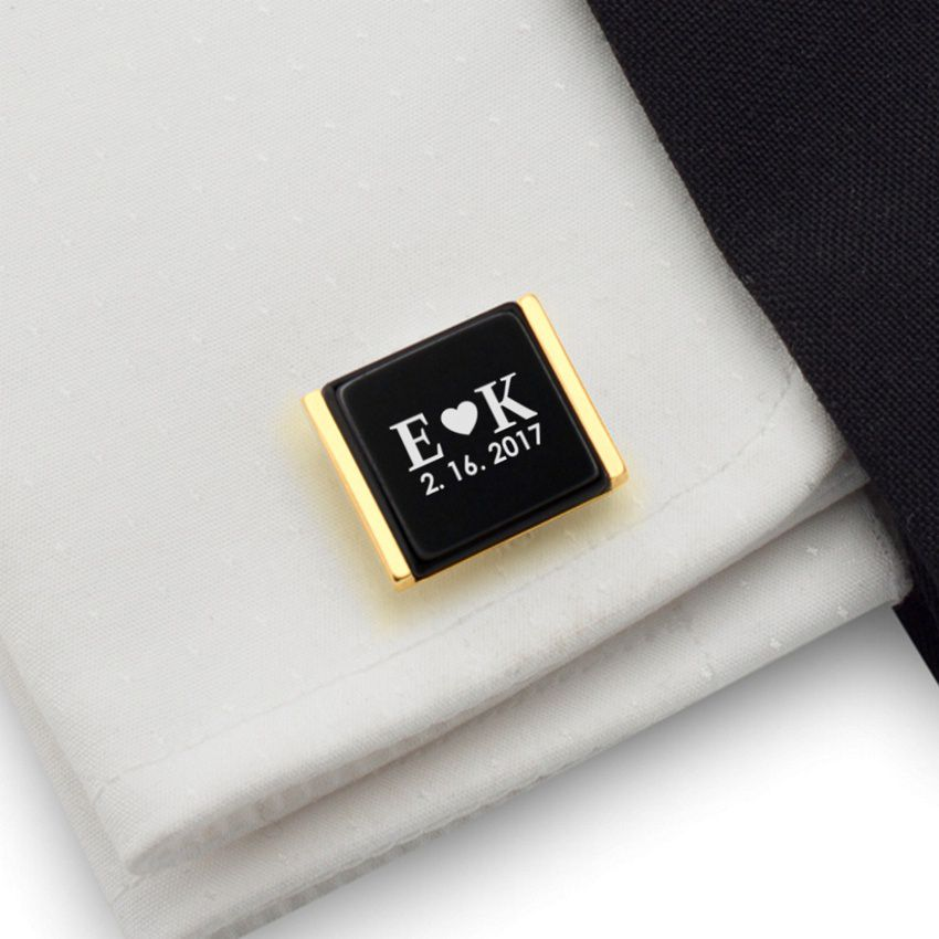 Personalized Gold Cufflinks   Love Gifts for Men   Sterling silver gold plated   Onyx stone   ZD.82Gold