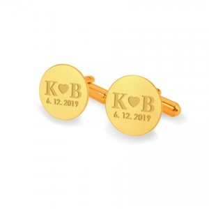 Personalized Gold Cufflinks   Love Gifts for Men   Sterling silver gold plated   Onyx stone   ZD.131Gold