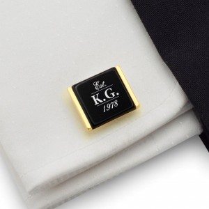 Engraved Gold Cufflinks | Birthday Initials and Date | Sterling silver gold plated | Onyx stone | ZD.77Gold