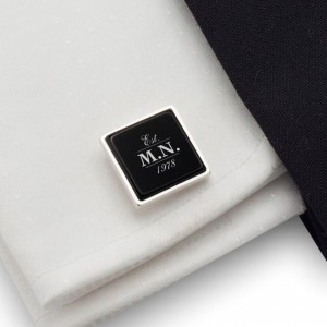 Engraved Cufflinks | Birthday Initials and Date | Sterling silver | Onyx stone | ZD.69