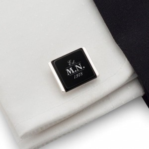 Engraved Cufflinks | Birthday Initials and Date | Sterling silver | Onyx stone | ZD.77