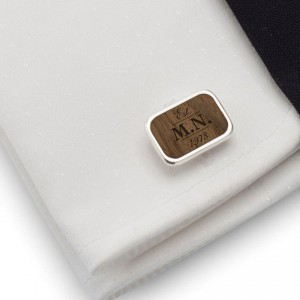 Engraved Wooden Cufflinks | Birthday Initials and Date | Sterling silver | American Walnut | ZD.62