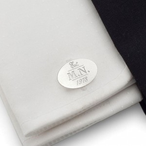 Engraved Sterling Silver Cufflinks | Birthday Initials and Date | Sterling silver | ZD.147