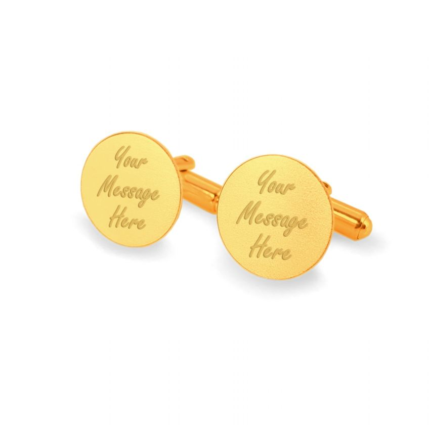 Personalised Gold Cufflinks   With your message   Sterling silver gold plated   ZD.137Gold