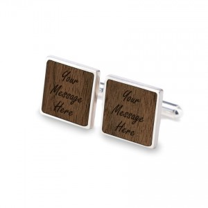 Personalised Cufflinks | With your message | Sterling silver | American Walnut | ZD.120