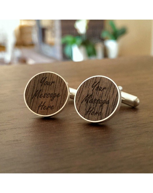 Personalised Wooden Cufflinks | With your message | Sterling silver | American Walnut | ZD.55