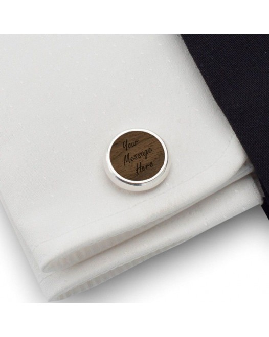 Personalised Cufflinks | With your message | Sterling sillver | American Walnut | ZD.50