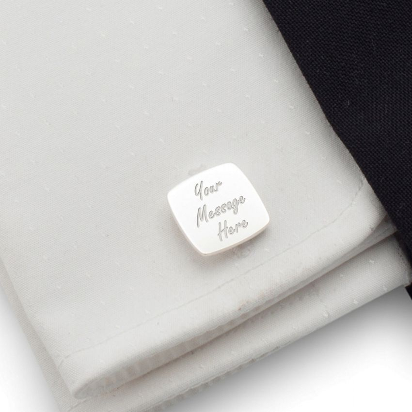 Personalised Cufflinks   With your message   Sterling silver   ZD.122