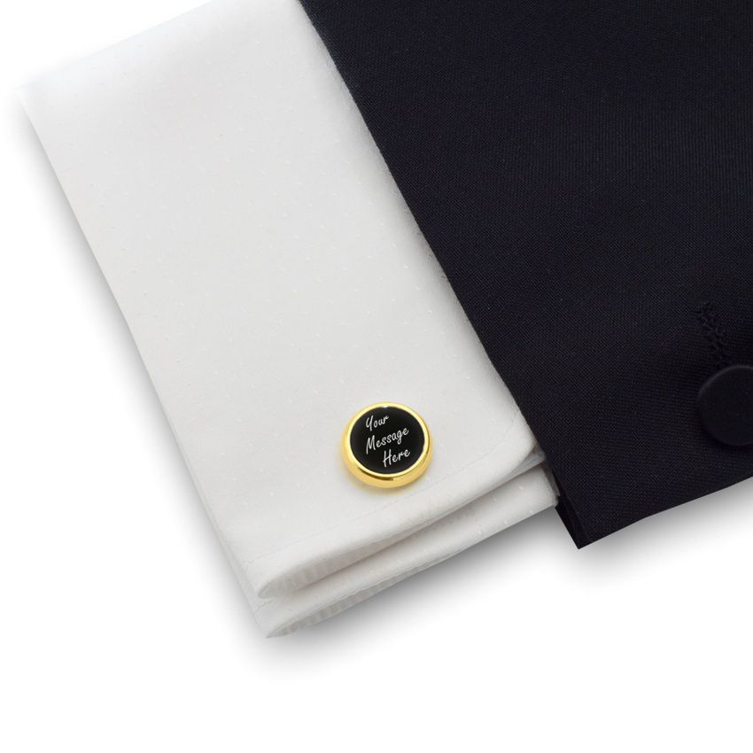 Personalised Gold Cufflinks   With your message   Sterling silver gold plated   Onyx stone   ZD.103Gold