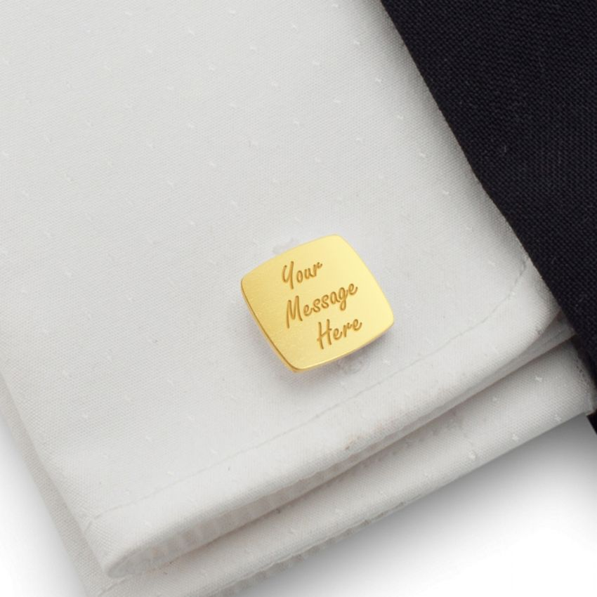Personalised Gold Cufflinks   With your message   Sterling silver gold plated   ZD.122Gold