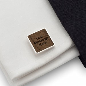 Personalised Cufflinks | With your message | Sterling sillver | American Walnut | ZD.120
