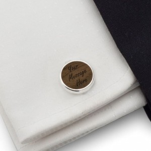 Personalised Wooden Cufflinks   With your message   Sterling silver   American Walnut   ZD.55